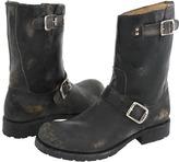 Frye Rogan Engineer (Black Stone Wash Leather) - Footwear