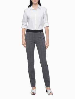 Calvin Klein Modern Essentials Charcoal Plaid Ankle Pants
