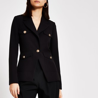 River Island Womens Black single breasted military blazer