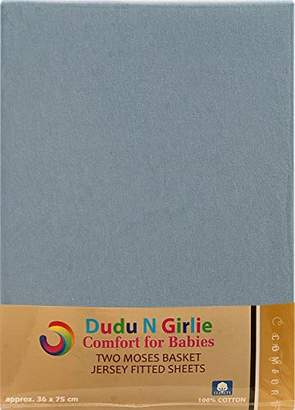 Dudu N Girlie Moses Basket Cotton Jersey Fitted Sheets, 28-36 cm/75 cm, 2-Piece, Blue