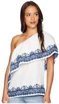 Lauren Ralph Lauren One Shoulder Linen Top Women's Blouse