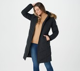 Arctic Expedition Chevron Quilted Down Coat with Removable Hood