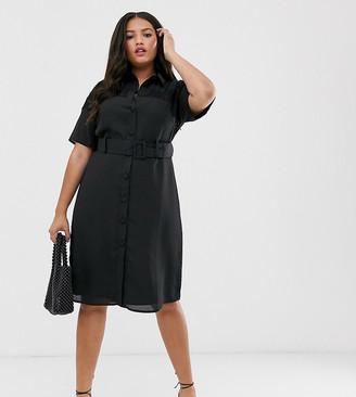 Fashion Union Plus midi button down shirt dress with lace panel and belt-Black