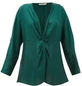Mes Demoiselles Twilight Gathered Silk-satin Blouse - Womens - Green