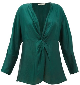 Mes Demoiselles Twilight Gathered Silk-satin Blouse - Green