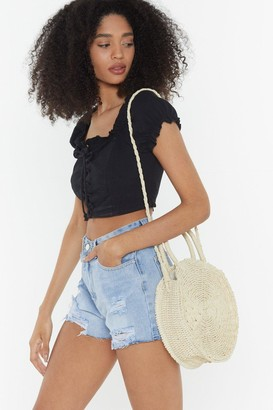 Nasty Gal Womens WANT Another Round Woven Shoulder Bag - white - One Size