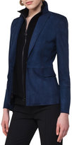 Akris Punto Suede Blazer with Detachable Wool Vest, Navy