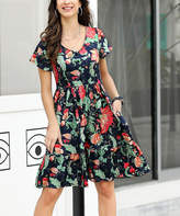 Reborn Collection Women's Casual Dresses Navy - Navy & Red Floral Button-Front V-Neck Dress - Women & Plus