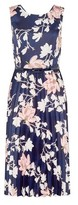 Dorothy Perkins Womens Luxe Navy Floral Pleated Midi Dress