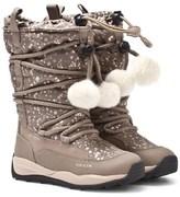 Geox Beige and Gold Orizont Pom Pom Snow Boots