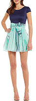 B. Darlin Cap-Sleeve Striped Skirt Skater Dress