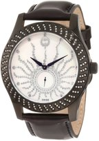 Brillier Women's 03-12421-06 Kalypso Black IP Black Leather Watch