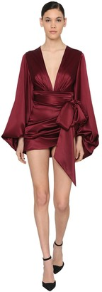 Alexandre Vauthier Draped V Neck Stretch Satin Mini Dress