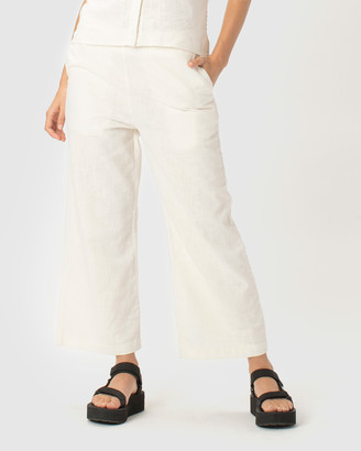 Cools Club - Women's White Cropped Pants - Easy Pants - Size One Size, 6 at The Iconic