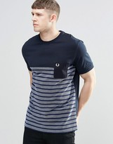 Fred Perry T-shirt With Half Stripe And Pocket