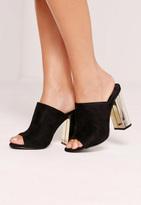 Missguided Gold Plated Block Heel Mule Black