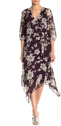 Gabby Skye Front Button Floral Chiffon Dress