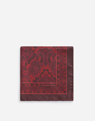 Dolce & Gabbana Pocket Square In Baroque Print Silk