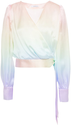 Olivia Rubin Abbie Cropped Degrade Silk-satin Top
