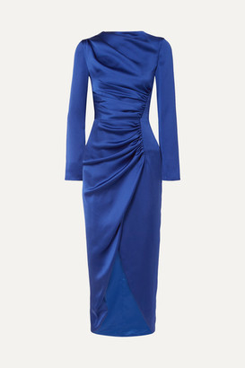 Rasario Gathered Satin Midi Dress - Navy