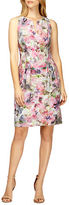 Kay Unger Floral Print Pleated Sheath Dress