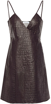 Beaufille Faux Croc-effect Leather Mini Wrap Dress