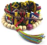 Novica Leather and cotton wrap bracelet, 'Almolonga Heritage' - Handcrafted Central American Wood Cotton Wrap Bracelet