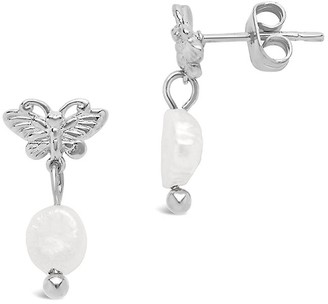 Sterling Forever Silvertone Faux Pearl Butterfly Stud Earrings