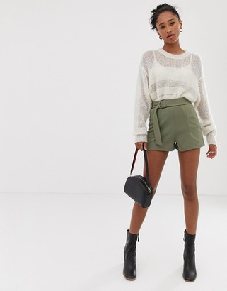 ASOS DESIGN shorts in jersey crepe with belt and tortoiseshell D-rings