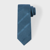 Paul Smith Men's Petrol Textured Diagonal Stripe Narrow Silk Tie