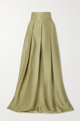 HARMUR Pleated Silk-satin Maxi Skirt - Army green