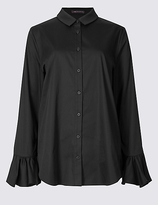 M&S Collection Cotton Rich Frill Cuff Shirt