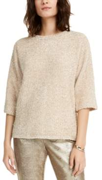 Alfani Petite Tinsel Square-Sleeve Sweater, Created For Macy's