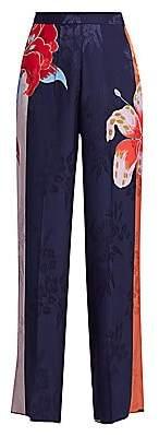 Etro Women's Lily-Print Wide-Leg Trousers