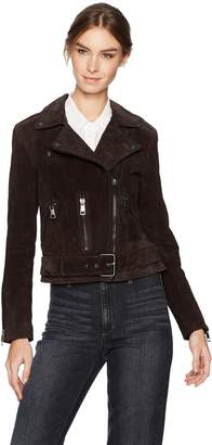 Bagatelle Women's Suede Belted Biker Jacket
