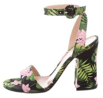 Gianvito Rossi Floral Ankle Strap Sandals