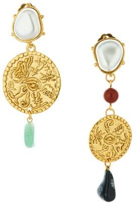 Oscar de la Renta Gemstone & Faux-Pearl Mismatched Coin Clip-On Drop Earrings
