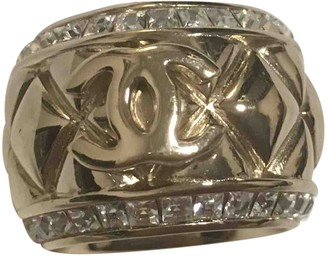 Chanel CC Gold Crystal Rings