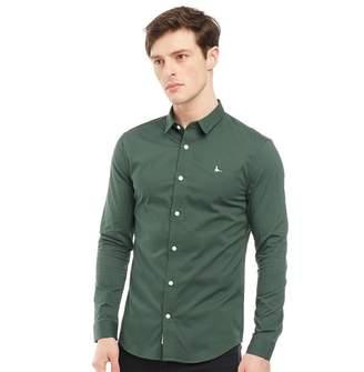 Jack Wills Mens Hinton Stretch Skinny Fit Long Sleeve Shirt Green