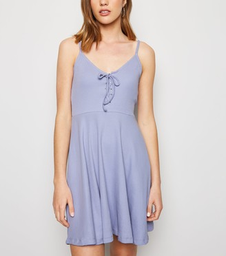 New Look Ribbed Lace Up Skater Dress