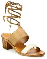 Soludos Colorblock Leather Ankle-Wrap Sandals