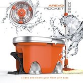 Arevo Rocket Wet Spin Mop and Bucket with Foot Operated Easy Wring System and Washable Microfiber Cloth Broom