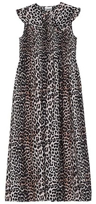 Ganni Leopard Print Midi Dress