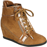 Khaki Zip & Lace-Up Wedge Ankle Boot