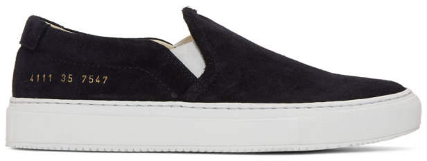 Common Projects Woman By Woman by Black Suede Slip-On Sneakers