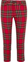 Junya Watanabe Cropped Paneled Tartan Wool Mid-rise Slim-leg Jeans - Red