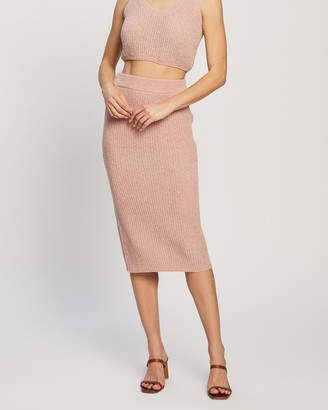 Atmos & Here Atmos&Here - Women's Pink Pencil skirts - Venice Knit Skirt - Size S at The Iconic
