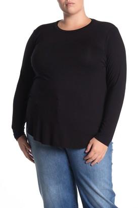 Halogen Long Sleeve Shirttail Hem T-shirt (Plus Size)