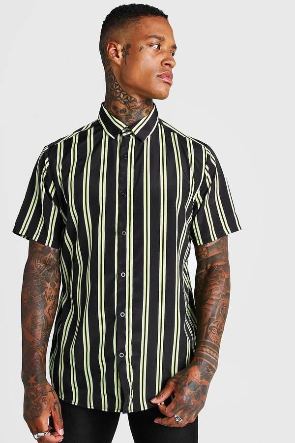 boohoo Short Sleeve Neon Stripe Collared Shirt