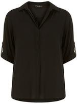 Dorothy Perkins Black collar roll sleeve shirt